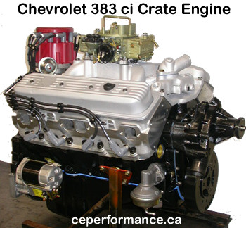 Click here to see this Chevy 383 cid crate motor with E Tec cylinder heads in a larger image...